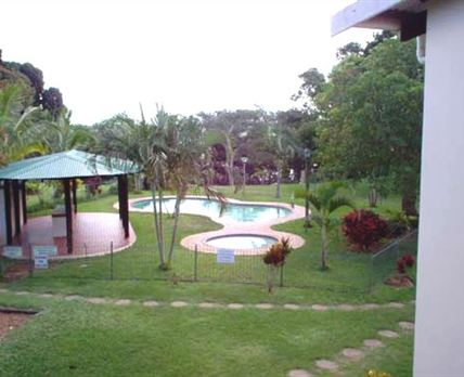 The swimming pool and garden.