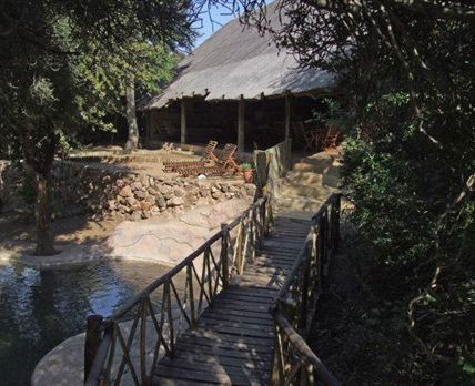 The entrance to Panzi is over a bridge, which brings you past the pool and into the lounge/dining area.
