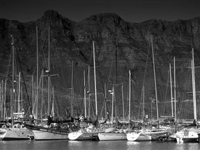Yachts moored in Hout Bay