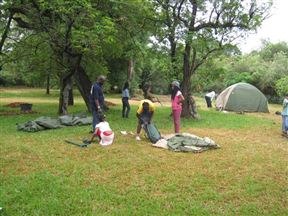 A Year 6 School Group Camping In The Campsite