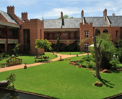 This coutry style hotel has beautifull landscaped gardens that surrounds the property